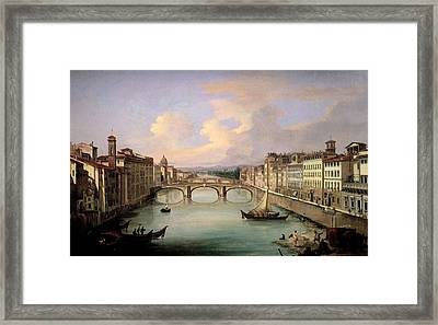 Florence From The Ponte Vecchio Framed Print by Giovanni Signorini