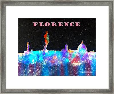 Florence Italy Skyline - Mauve Banner Framed Print by Bill Holkham