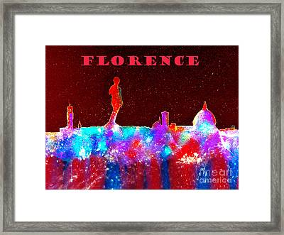 Florence Italy Skyline - Red Banner Framed Print by Bill Holkham