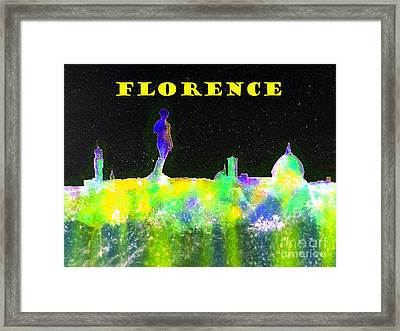 Florence Italy Skyline - Yellow Banner Framed Print by Bill Holkham