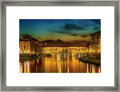 Florence Ponte Vecchio At Sunset Framed Print by Melanie Viola