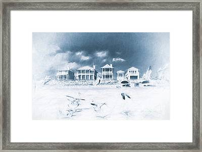 Florida Beach Houses With Birds Flying In The Sand Framed Print by Vizual Studio