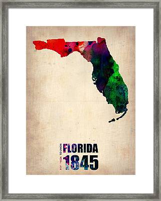 Florida Watercolor Map Framed Print by Naxart Studio