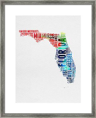 Florida Watercolor Word Cloud Mao Framed Print by Naxart Studio