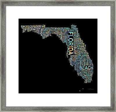 Florida Word Art Map Framed Print by Barbara Chichester