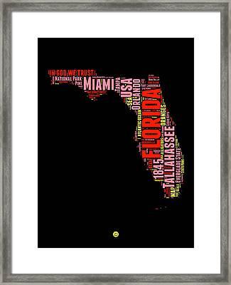 Florida Word Cloud Map 1 Framed Print by Naxart Studio