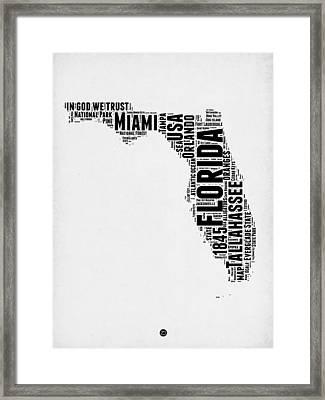 Florida Word Cloud Map 2 Framed Print by Naxart Studio