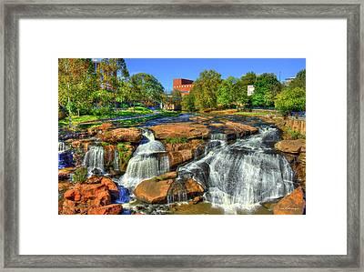 Flow On Reedy River Falls Park Art Greenville Sc Framed Print by Reid Callaway