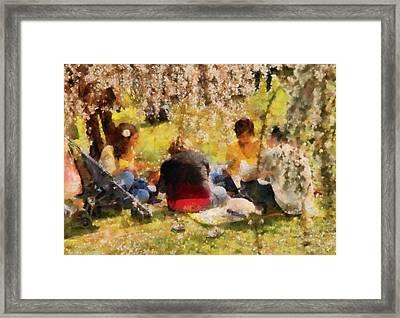 Flower - Sakura - Afternoon Picnic Framed Print by Mike Savad