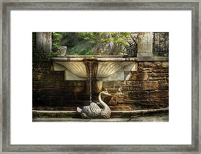 Flower - Wisteria - Fountain Framed Print by Mike Savad