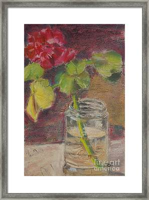 Flower And Canning Jar Still Life Caffrey Fielding Framed Print by Caffrey Fielding