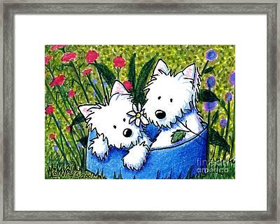 Flower Bed Westies Framed Print by Kim Niles