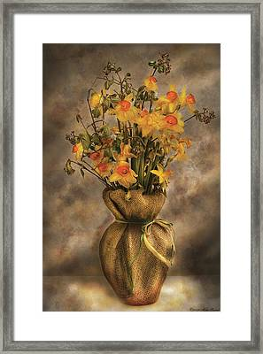 Flower - Daffodils In A Burlap Vase Framed Print by Mike Savad