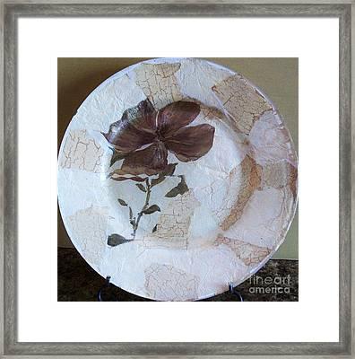 Flower Decopage Plate Framed Print by Marsha Heiken
