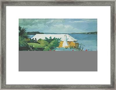 Flower Garden And Bungalow Bermuda Framed Print by Winslow Homer