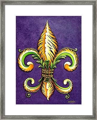 Flower Of New Orleans Lsu Framed Print by Judy Merrell