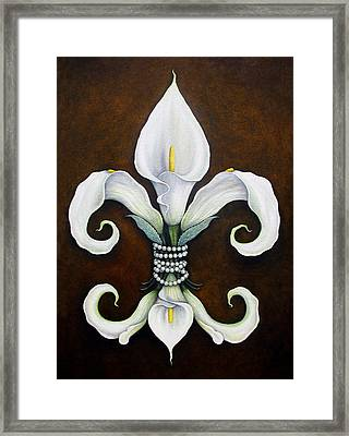 Flower Of New Orleans White Calla Lilly Framed Print by Judy Merrell
