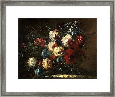 Flower Piece Framed Print by Narcisse Virgile Diaz de la Pena