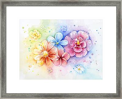 Flower Power Watercolor Framed Print by Olga Shvartsur