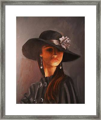 Flowered Hat Plus Attitude Framed Print by Tom Shropshire