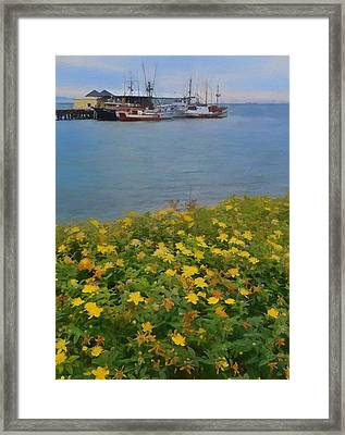 Flowers And Boats Framed Print by Dan Sproul