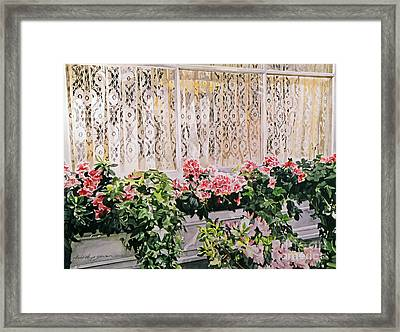 Flowers And Lace Framed Print by David Lloyd Glover