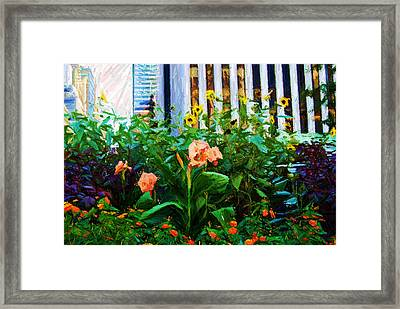 Flowers At The Fountain Of The Plaza Hotel Framed Print by Randy Aveille