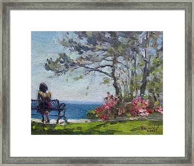 Flowers By Lake Ontario Framed Print by Ylli Haruni