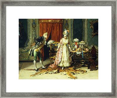 Flowers For Her Ladyship Framed Print by Cesare-Auguste Detti