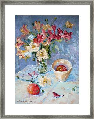 Flowers, Fruit And Mixing Bowl Framed Print by Elinor Fletcher