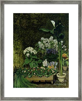 Flowers In A Greenhouse Framed Print by Pierre Auguste Renoir