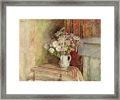 Flowers In A Vase Framed Print by Edouard Vuillard