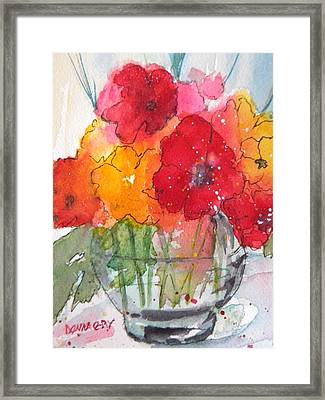 Flowers In Clear Glass Framed Print by Donna Cary
