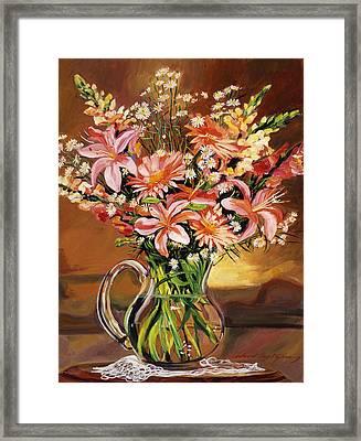 Flowers In Glass Framed Print by David Lloyd Glover