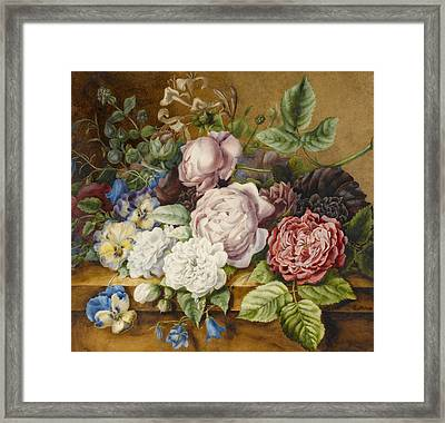 Flowers On A Ledge Framed Print by Ernestine Panckoucke