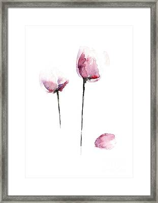 Flowers Watercolor Living Room Decor Framed Print by Joanna Szmerdt