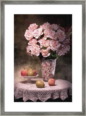 Flowers With Fruit Still Life Framed Print by Tom Mc Nemar