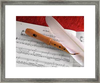 Flute And Feather Framed Print by Carlos Caetano