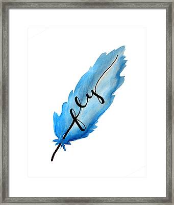 Fly Blue Feather Vertical Framed Print by Michelle Eshleman