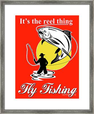Fly Fisherman Catching Trout Framed Print by Aloysius Patrimonio
