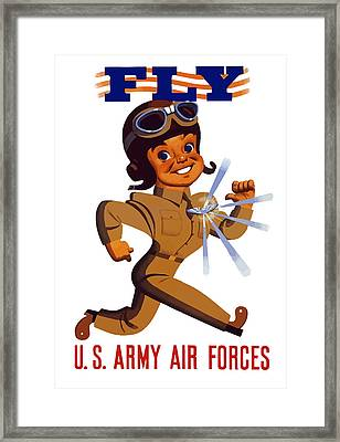 Fly - Us Army Air Forces Framed Print by War Is Hell Store