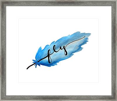 Fly Watercolor Feather Horizontal Framed Print by Michelle Eshleman