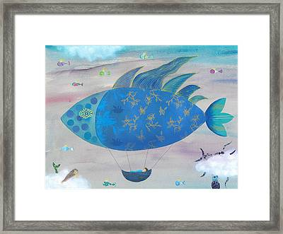 Flying Fish In Sea Of Clouds With Sleeping Child Framed Print by Sukilopi Art