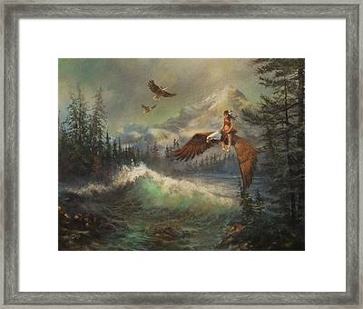 Flying On Eagles Framed Print by Tom Shropshire