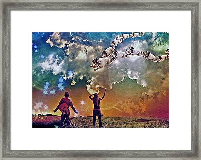 Digital Manipulation Framed Print featuring the digital art Flying Pigs by Marian Voicu