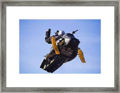 Flying Snowmobile Framed Print by Mircea Costina Photography