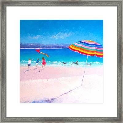Flying The Kite Framed Print by Jan Matson