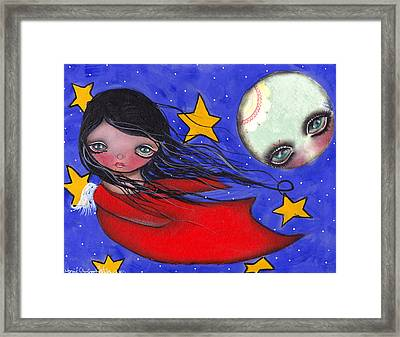 Flying With The Moon Framed Print by  Abril Andrade Griffith