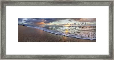 Foam Sunset Framed Print by Sean Davey