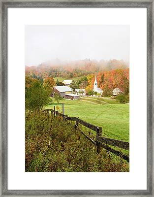 Fog In The Village - Vertical Framed Print by Michael Blanchette
